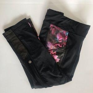 Lululemon Crop side print leggings panel mesh 10